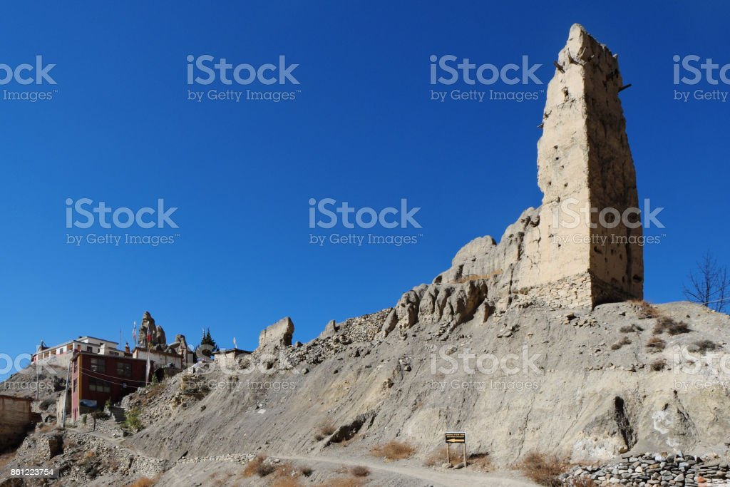 The ruins of an ancient Buddhist monastery stock photo
