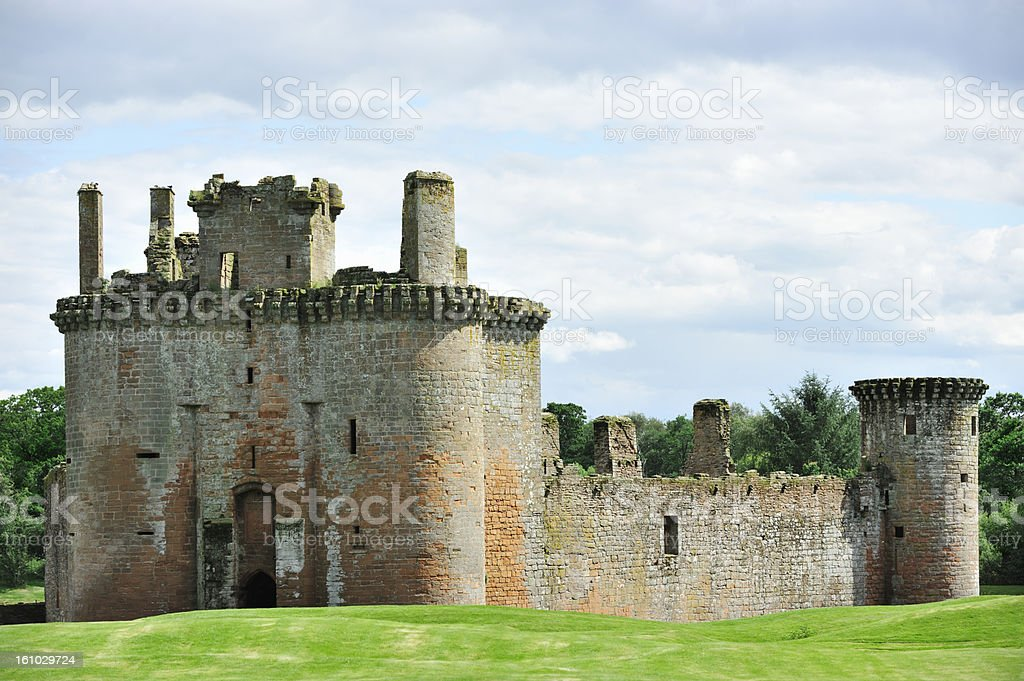 The ruins of an old 13th century Scottish castle stock photo
