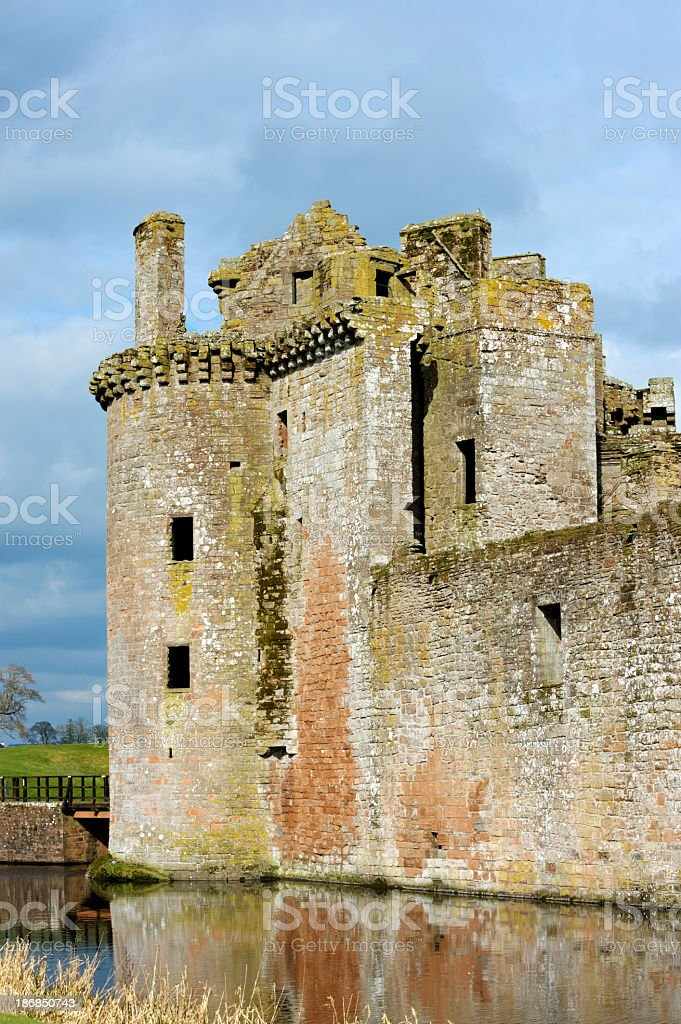 The ruins of an old historic Scottish castle stock photo
