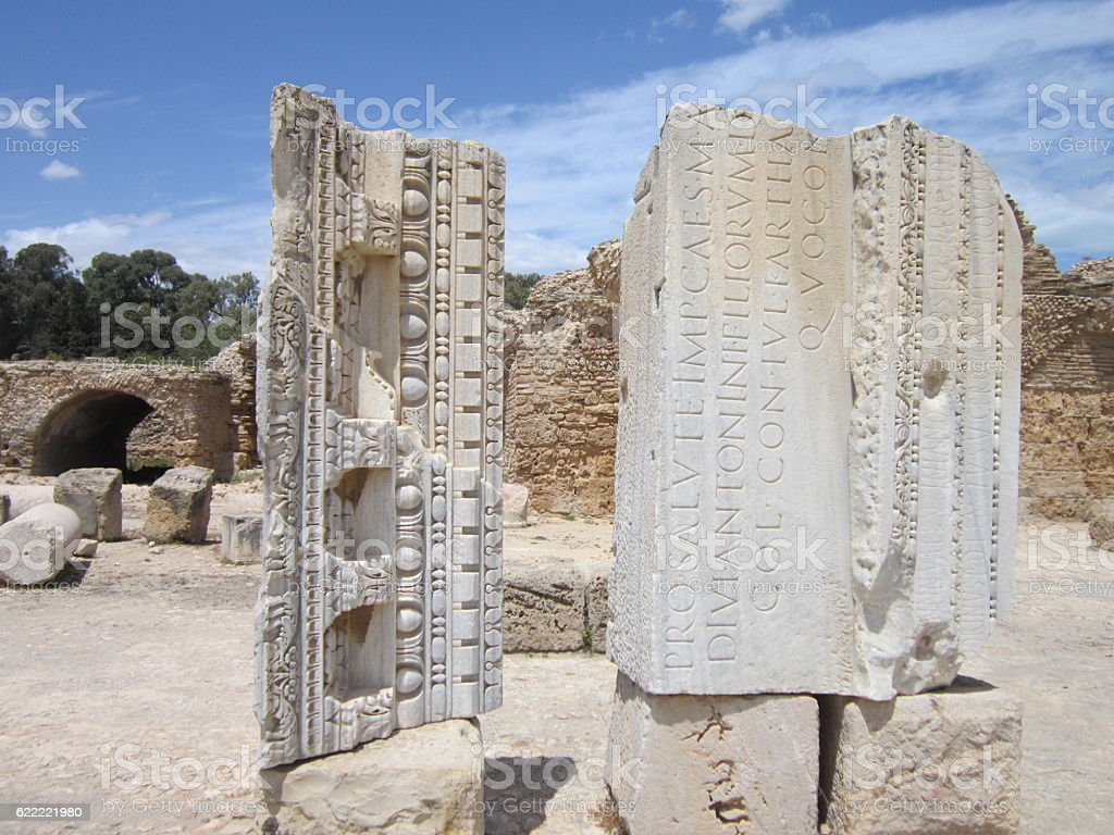 The ruins of ancient Carthage stock photo