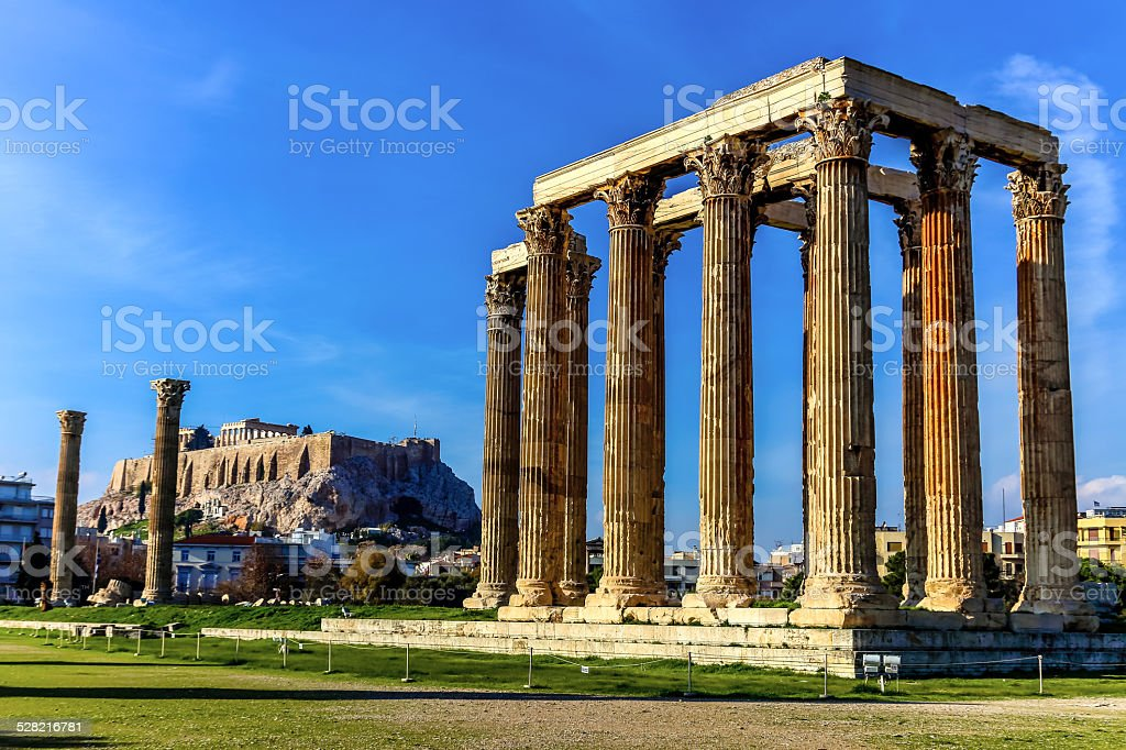 The ruins of ancient temple Zeus, Athens, Greece stock photo