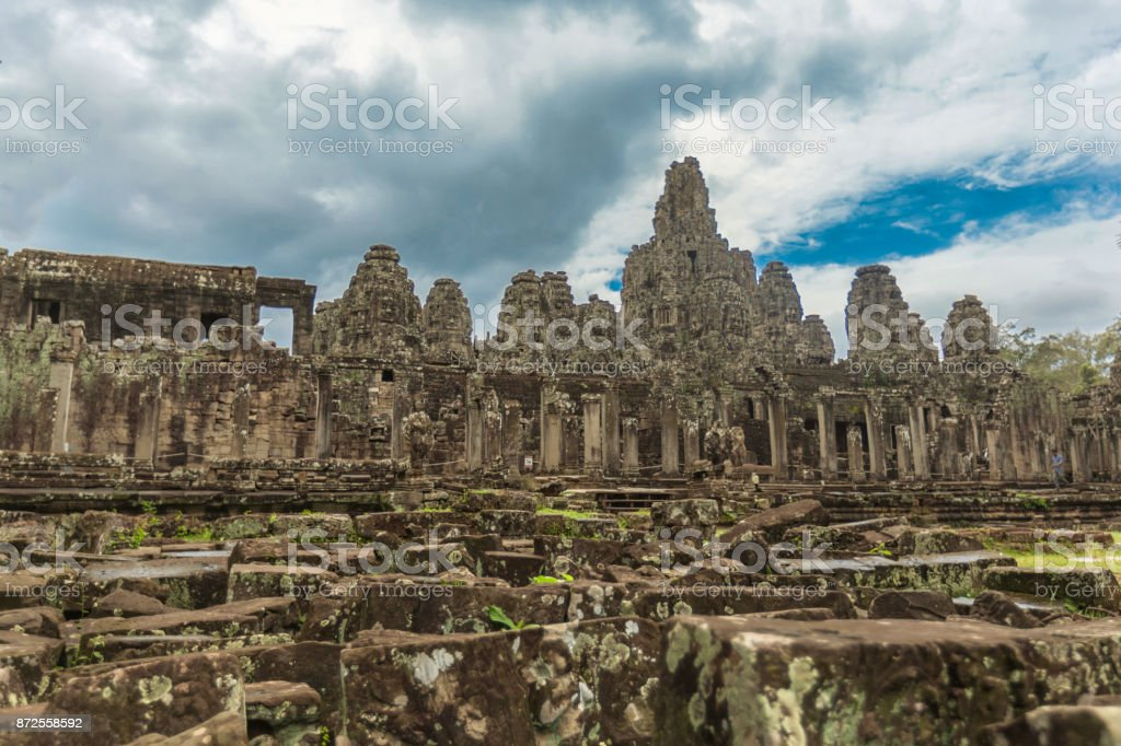 The ruins of Bayon Temple, Cambodia. stock photo