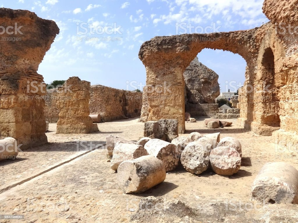 The ruins of Carthage in Tunisia. Ruins of capital city of the ancient Carthaginian civilization. UNESCO World Heritage Site stock photo
