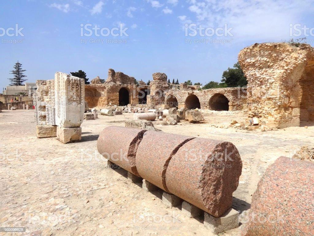 The ruins of Carthage in Tunisia. UNESCO World Heritage Site stock photo