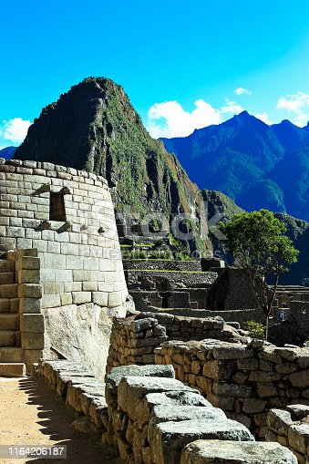 The ruins of Machu Picchu in the Andes Mountains of Peru.