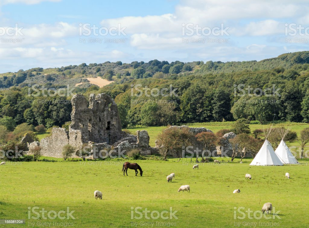 The ruins of Ogmore Castle, Glamorgan, South Wales stock photo