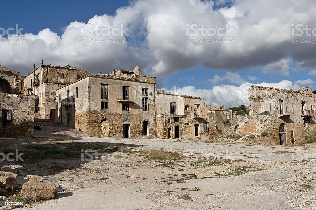 The ruins of Poggioreale after the earthquake - Trapani province stock photo