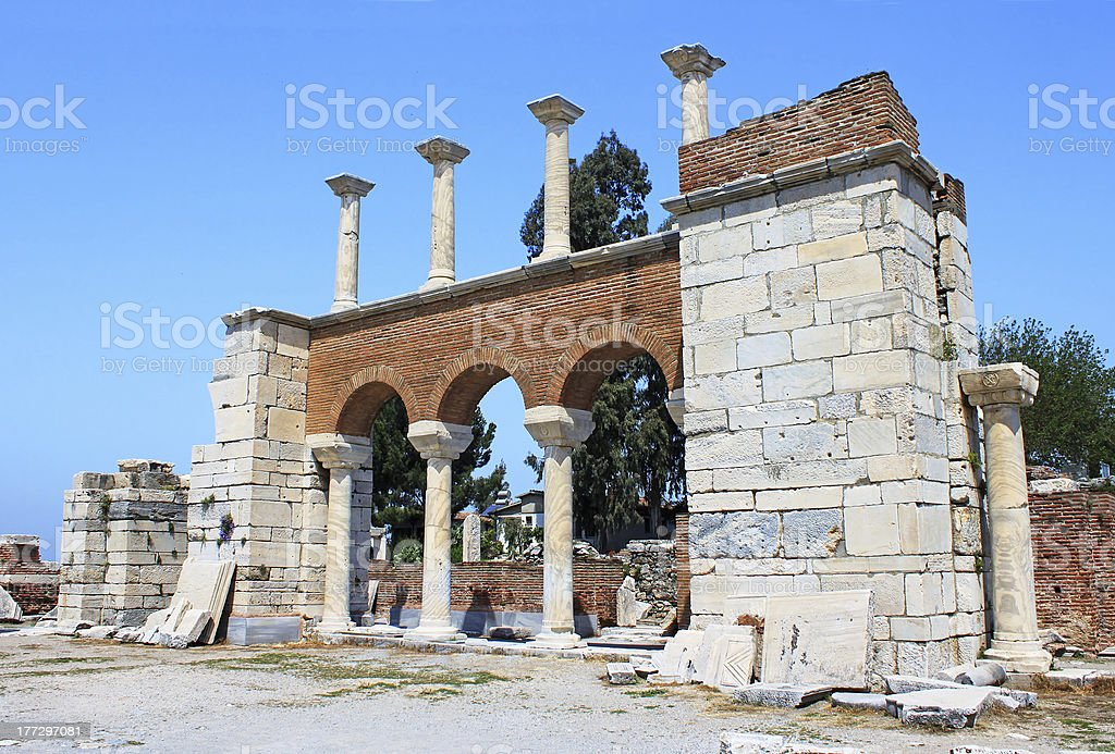 The ruins of St. John basilica in Selcuk, Turkey royalty-free stock photo