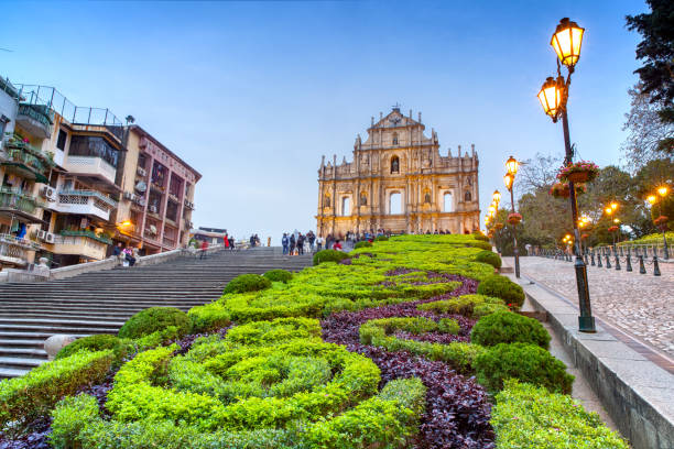 The Ruins of St. Paul's in Macao at night. stock photo