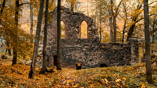 The Ruins of the 13th Century Krimulda Stone Castle  and Wall at Krimulda, Near Sigulda, Latvia, Europe