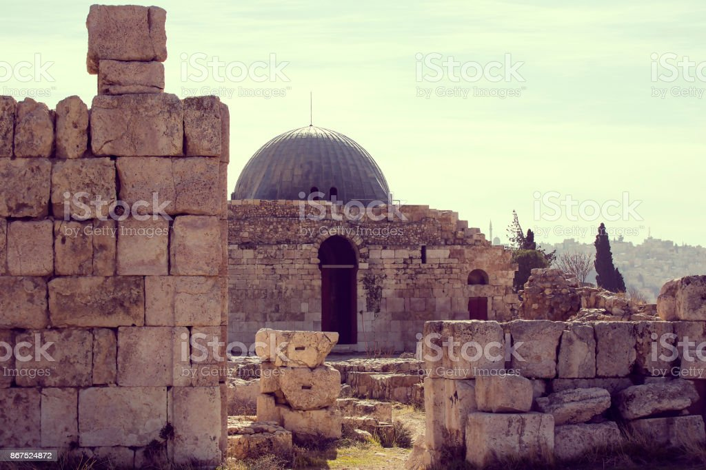The ruins of the ancient citadel in Amman, stock photo