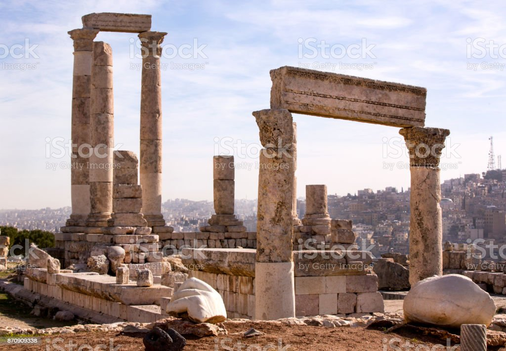 The ruins of the ancient citadel in Amman stock photo