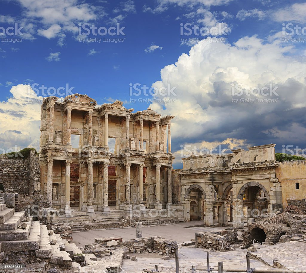 The ruins of the Celsus Library in Ephesus stock photo