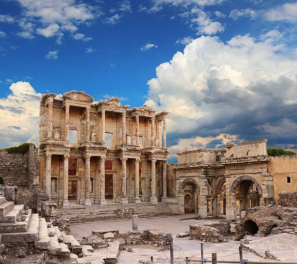 The ruins of the Celsus Library in Ephesus Celsus Library in Ephesus, Turkey celsus library stock pictures, royalty-free photos & images