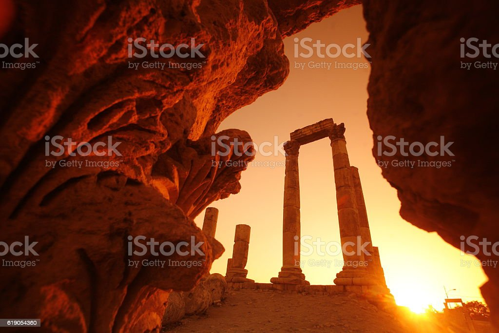 The Ruins of the citadel Jabel al Qalah stock photo