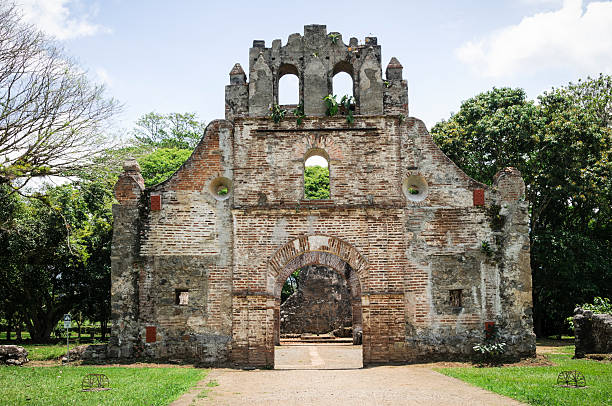 The ruins of the Colonial Church in Ujarras Costa Rica stock photo
