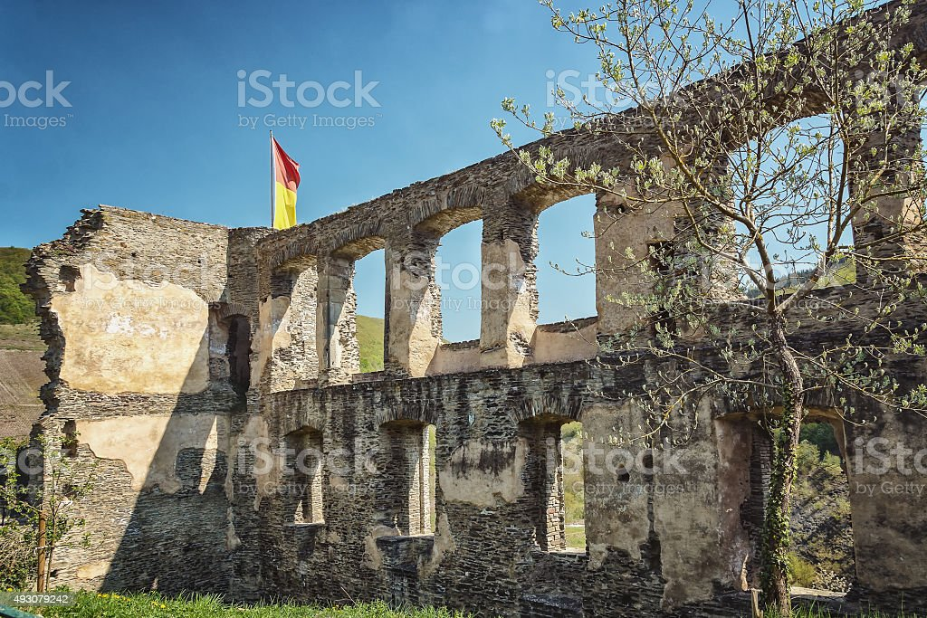 The ruins of the imperial fortress impregnable Beilstein, Germany. stock photo