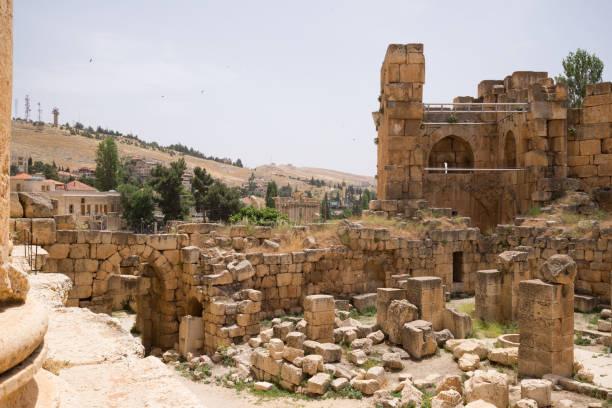 Die Ruinen der römischen Stadt Heliopolis oder Baalbek im Beqaa-Tal. Baalbek, Libanon – Foto