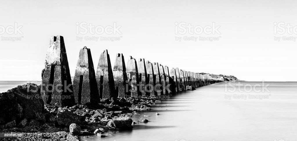 The ruins of the Second World War sea fortification at Crammond near Edinburgh artistic conversion stock photo