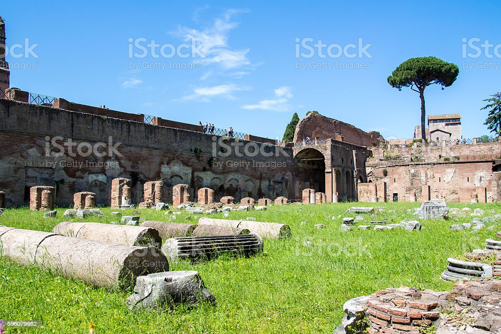 the ruins of the Stadium on the Palatine Hill in Rome, Italy royalty-free stock photo