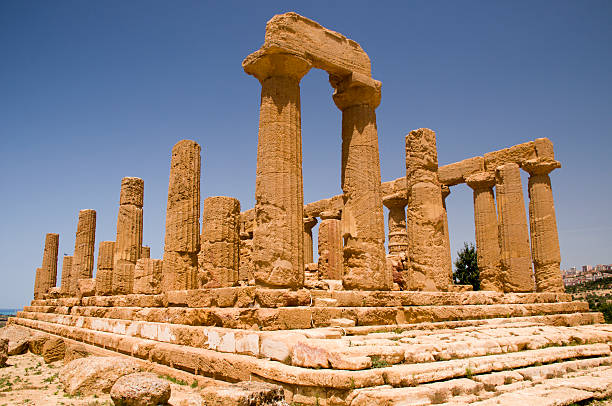 the ruins temple of hera (juno) lacinia - mahroch stock pictures, royalty-free photos & images