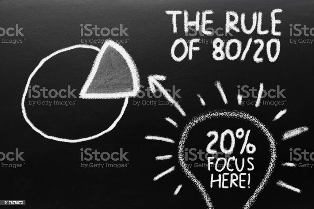 The rule of 80 20. Graph of paretto principle. stock photo