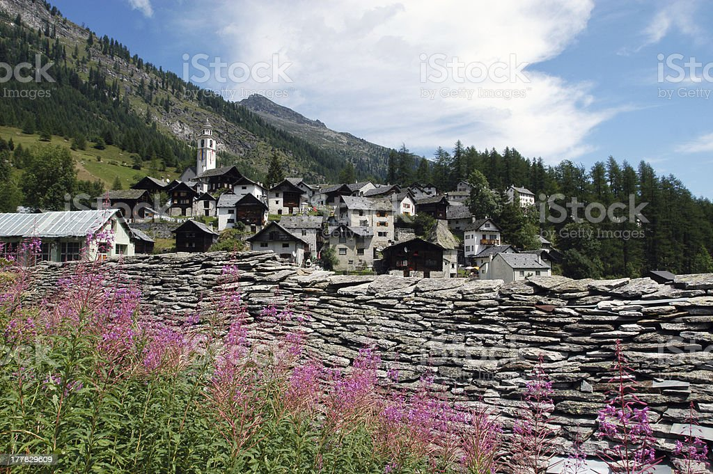 The rural village of Bosco Gurin on Maggia valley stock photo