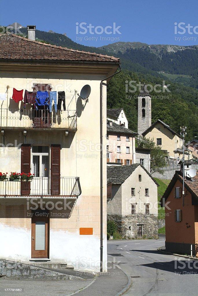 The rural village of Prugiasco on Blenio valley royalty-free stock photo