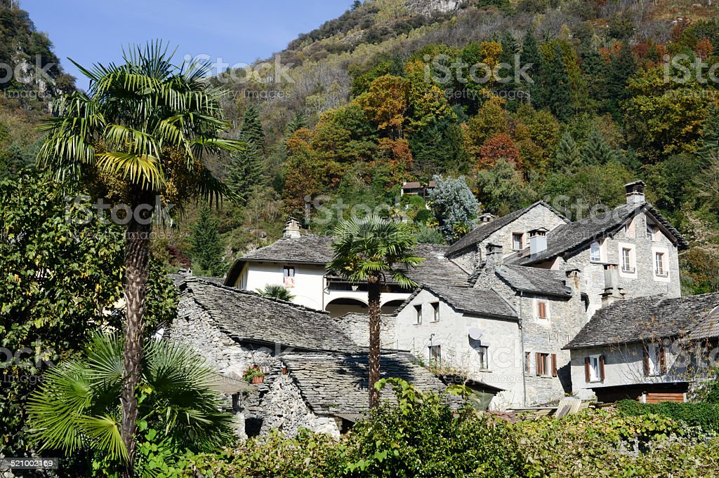 The rural village of Verscio stock photo