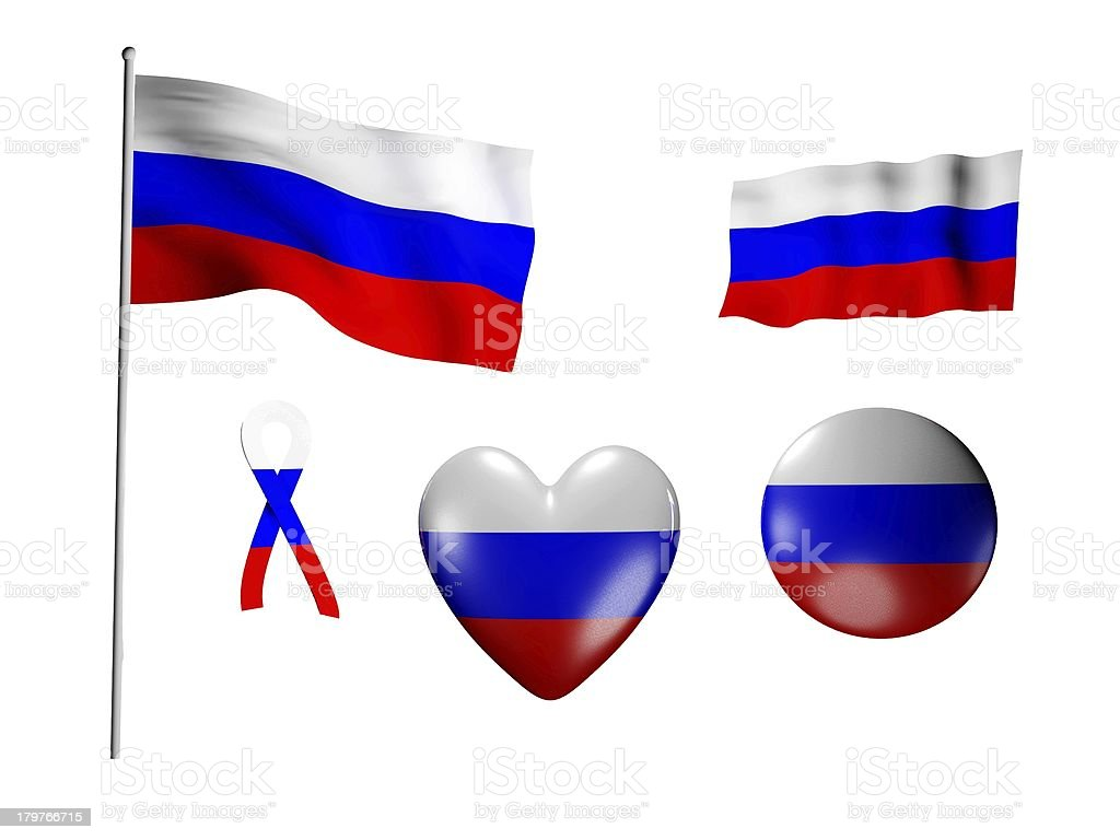 The Russia flag - set of icons and flags royalty-free stock photo