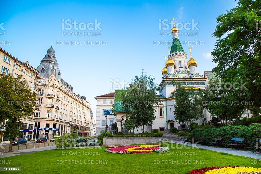 The Russian church in the centre of Sofia city, Bulgaria stock photo