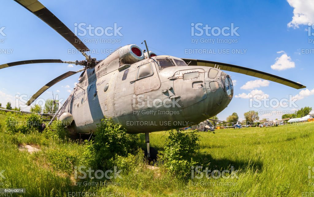 SAMARA, RUSSIA - MAY 25, 2014: The russian heavy transport helicopter Mi-6 at an abandoned aerodrome. The Mil Mi-6 was built in large numbers for both military and civil roles stock photo