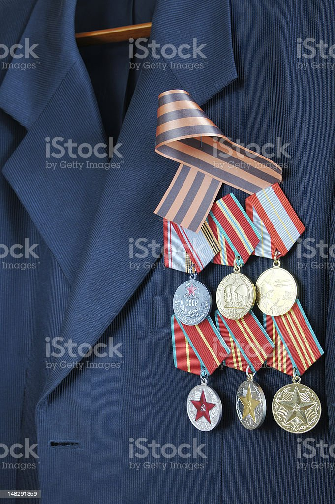 The Russian military awards at a veteran suit royalty-free stock photo