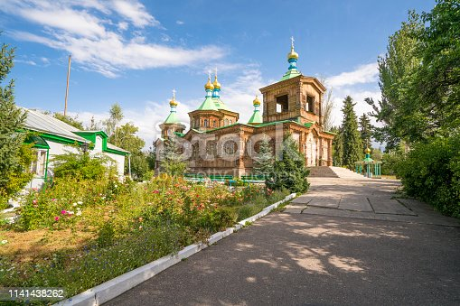 istock The Russian Orthodox Holy Trinity Cathedral in Karakol, Kyrgyzstan 1141438262