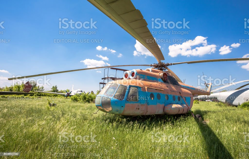 The russian transport helicopter Mi-6 at an abandoned aerodrome in Samara, Russia stock photo
