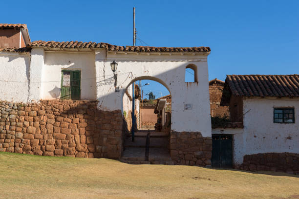 The rustic town of Chinchero in the Sacred Valley near Cusco stock photo