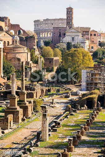 The Roman Imperial Forum, an area known as the Roman Forum Archaeological Park, with the denominated Sacred Street in the middle. The Roman Forum its one of the largest archaeological areas in the world. Image take from the Capitoline Hill (Campidoglio) terrace. Image in High Definition format.