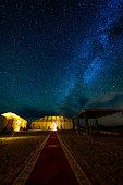 A beautiful night full of stars on Sahara desert in Morocco.