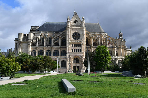 the saint eustache church in paris, france. - saint eustache church foto e immagini stock