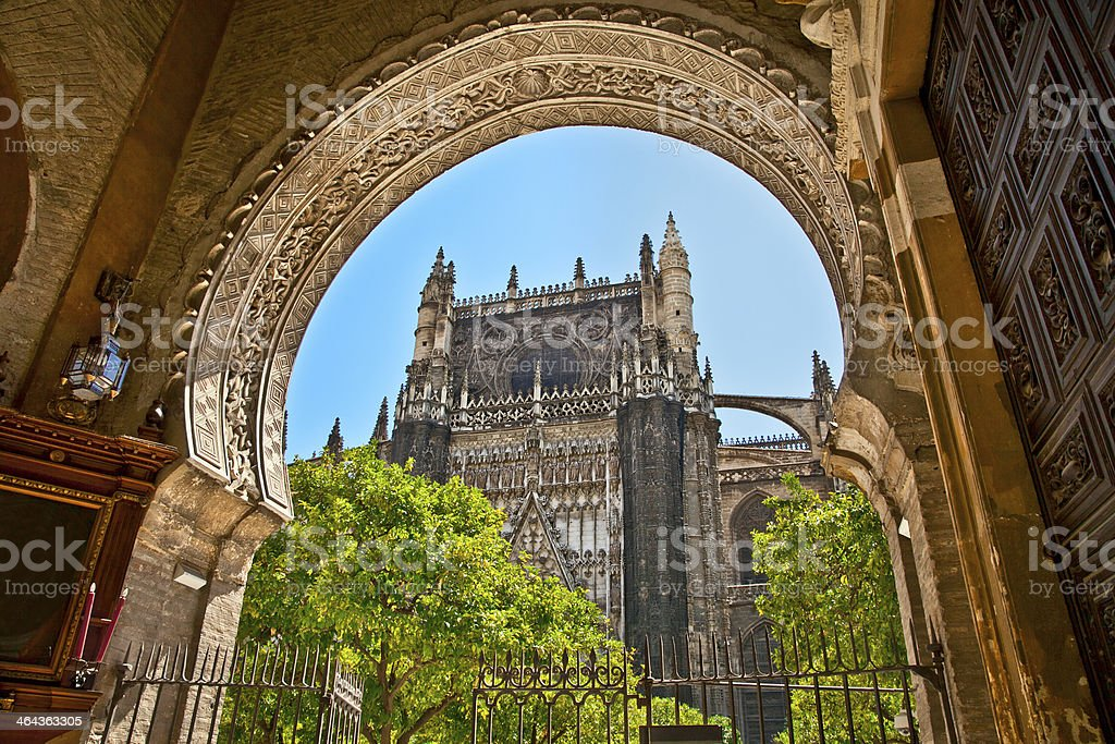 The Saint Mary cathedral  in Seville, Spain. stock photo