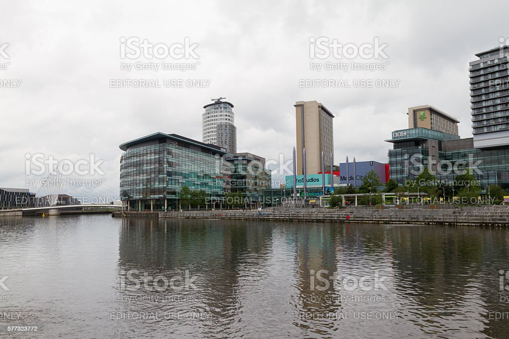 The Salford Quays with the Media City in view stock photo