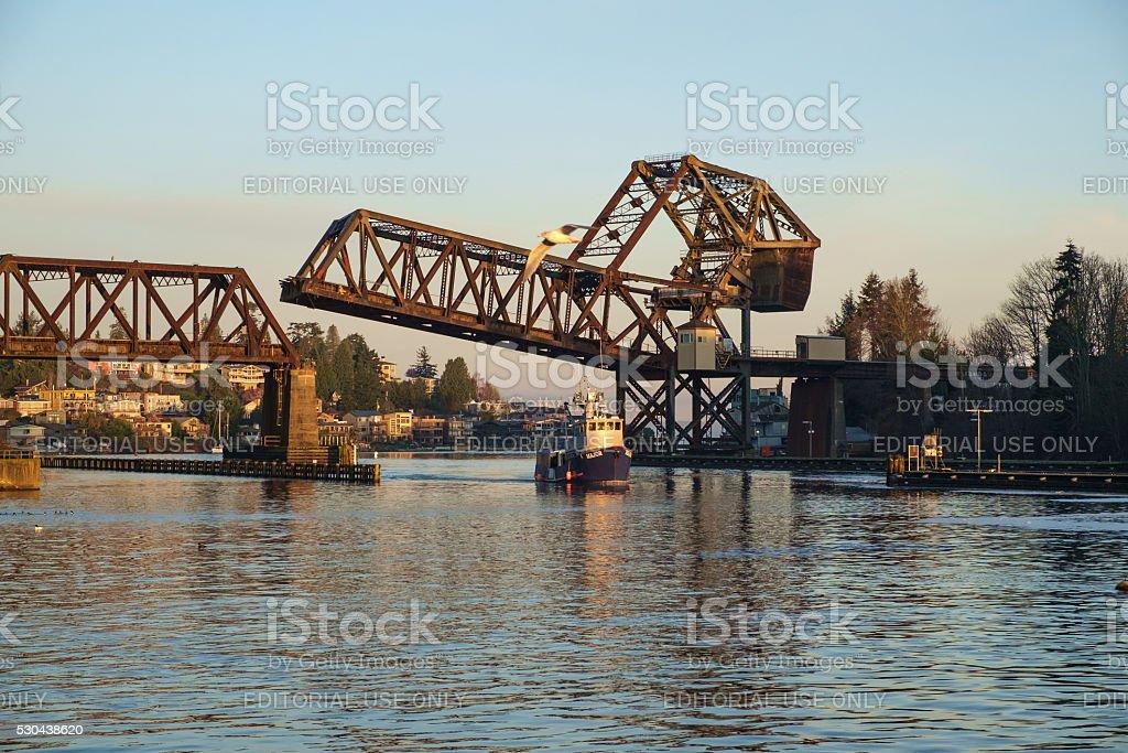 The Salmon Bay Bridge stock photo