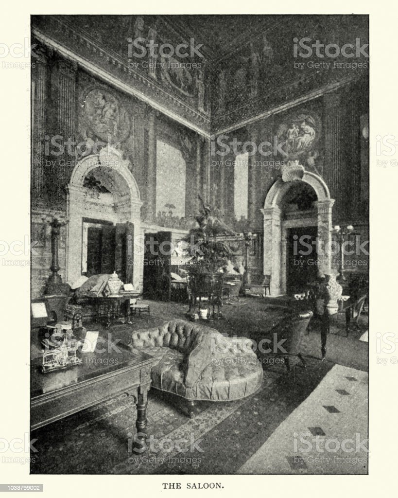 The Saloon, Blenheim Palace, late 19th Century stock photo