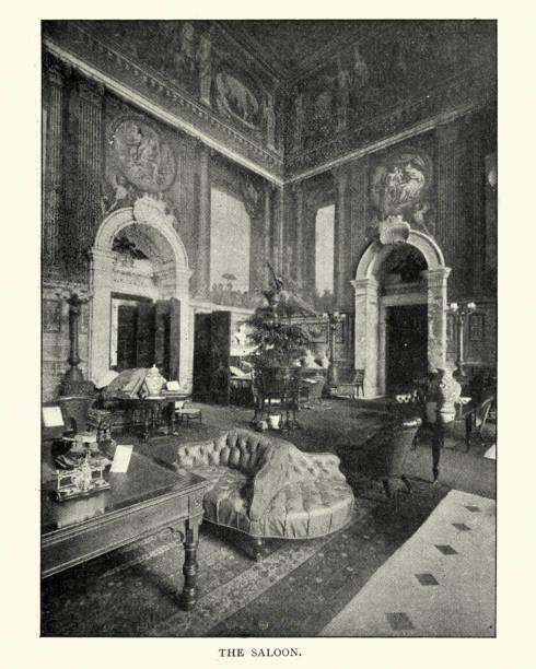 The Saloon, Blenheim Palace, late 19th Century stock photo