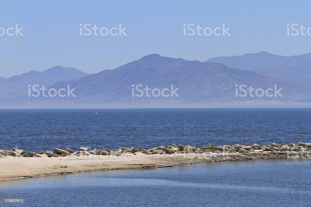 The Salton Sea In California Desert stock photo
