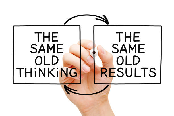 The Same Old Thinking The Same Old Results Hand writing The Same Old Thinking, The Same Old Results with marker on transparent wipe board isolated on white. routine stock pictures, royalty-free photos & images