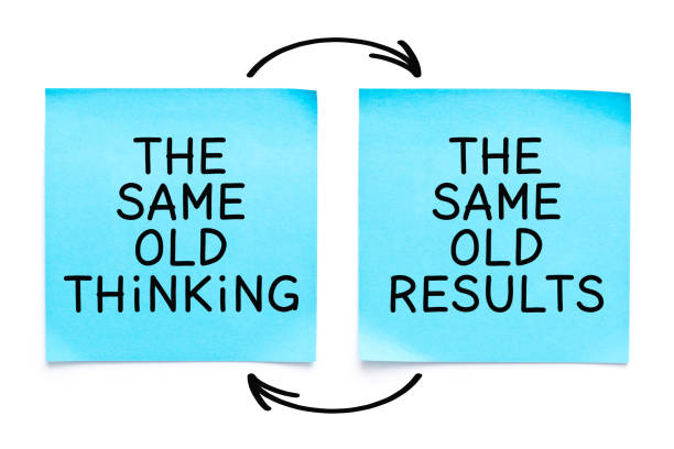The Same Old Thinking The Same Old Results Quote Motivational quote The Same Old Thinking, The Same Old Results handwritten with marker on two blue sticky notes on white background. man made stock pictures, royalty-free photos & images
