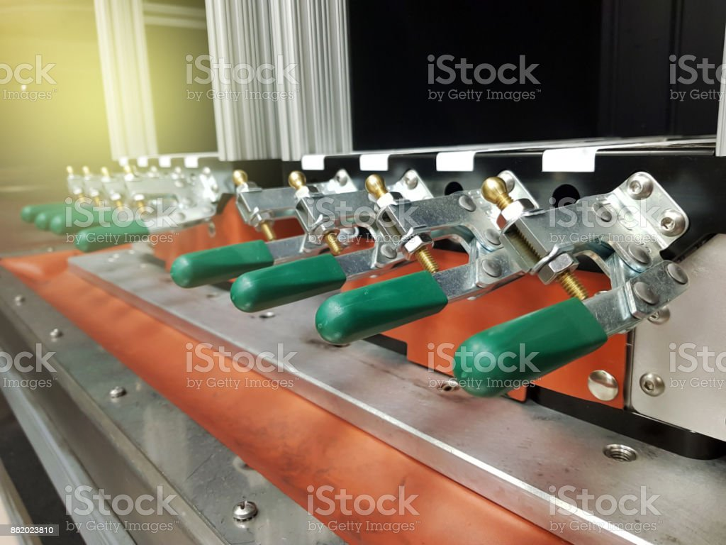 the sample part with toggle clamping. stock photo