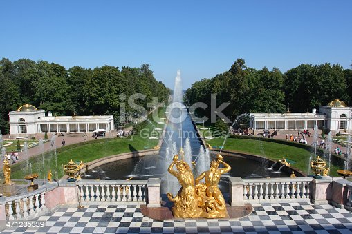 The fountains of Peterhof are one of Russia's most famous tourist attractions, drawing millions of visitors every year. The most famous ensemble of fountains, the Grand Cascade, which runs from the northern facade of the Grand Palace to the Marine Canal, comprises 64 different fountains, and over 200 bronze statues, bas-reliefs, and other decorations. At the center stands Rastrelli's spectacular statue of Samson wrestling the jaws of a lion.