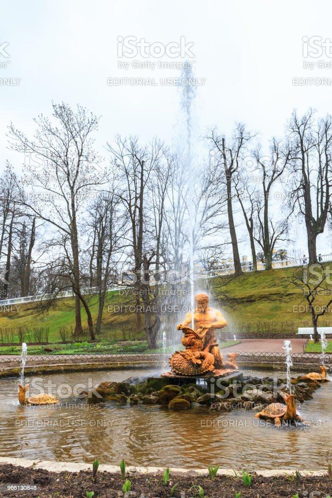 Samson fontänen i den Palace Garden av Peterhof. - Royaltyfri Arkitektur Bildbanksbilder